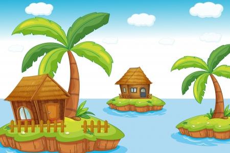 birds of paradise: island huts Illustration