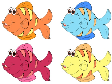 fish clipart: Four fish in different colours