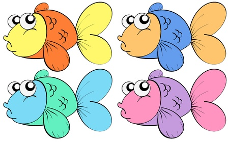 sea creatures: Four fish in different colours