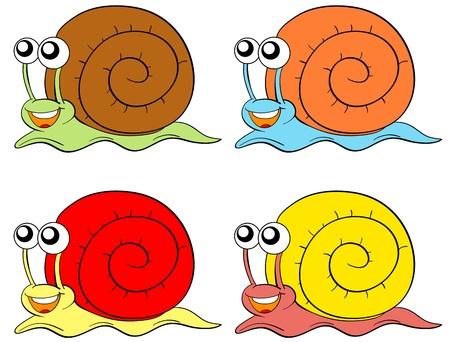 babosa: Caracoles en cuatro colores sobre fondo blanco