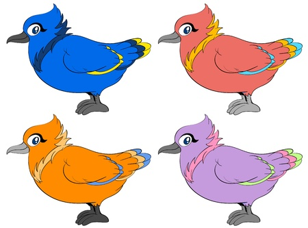 Four birds in different colours Stock Vector - 13858176