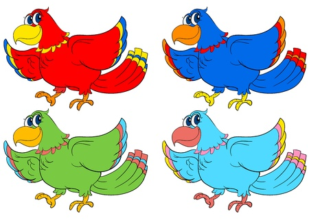 Four birds in different colours Stock Vector - 13858228