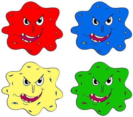bacterial: Germi e bug in diversi colori Vettoriali