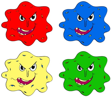 bacterial: Germs and bugs in different colours