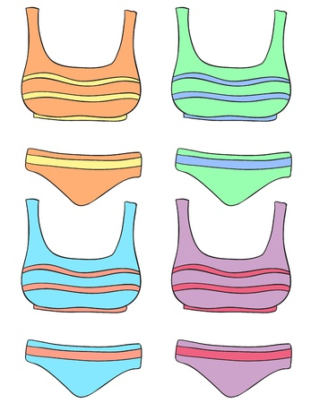 bathing suit: Illustration of clothes in four colors