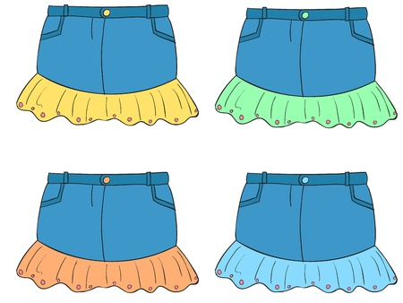 미니: 4 색 옷의 그림 일러스트