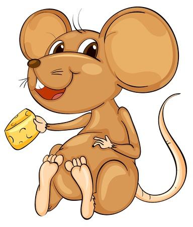 raton caricatura: Ratón de dibujos animados lindo en blanco Vectores