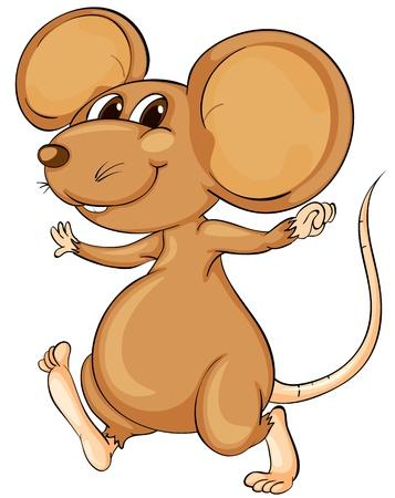 mus: Gullig tecknad mus på vit Illustration