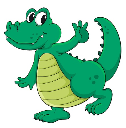 Cute cartoon crocodile on white Stock Vector - 13858178