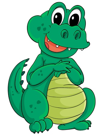 Cute cartoon crocodile on white Stock Vector - 13858167