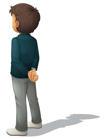 facing away: Business man on a white background Illustration
