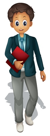 handsome young man: Business man on a white background Illustration
