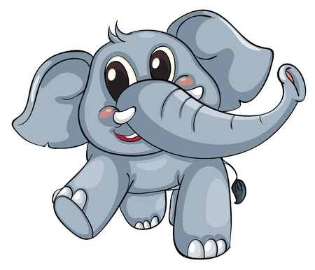 elephant icon: Cute elephant on a white background Illustration