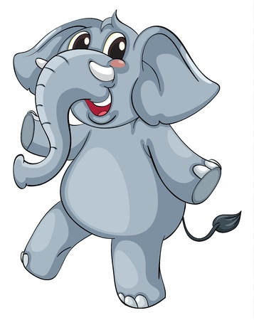 Cute elephant on a white background Vector