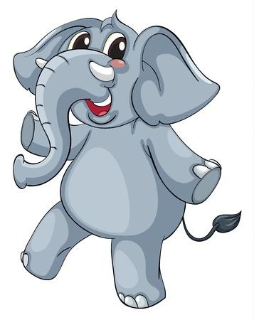 elefante cartoon: Elefante lindo en un fondo blanco Vectores