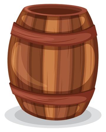 wood barrel: Illustration of a wooden barrel