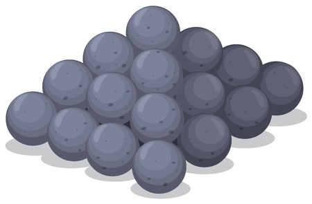 a cannon: Illustration of cannon balls on white