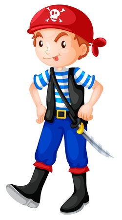kids costume: Illustration of a pirate boy Illustration