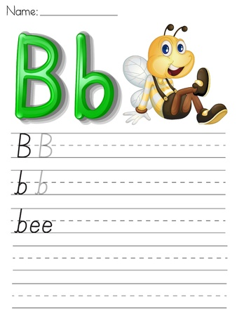 Alphabet worksheet on white paper Vector