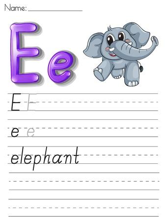 animal practice: Alphabet worksheet on white paper