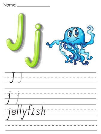 writing letter: Alphabet worksheet on white paper
