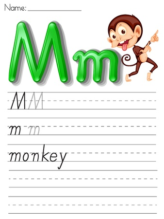 letter writing: Alphabet worksheet on white paper