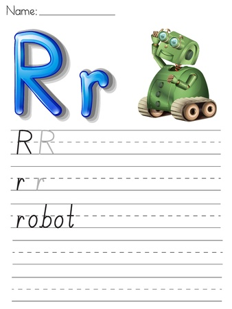 letter r: Alphabet worksheet on white paper