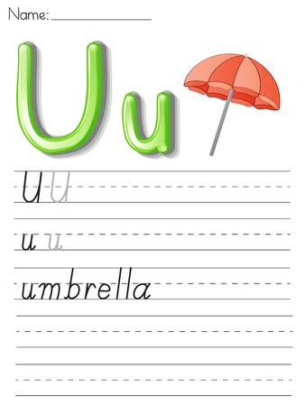 worksheet: Illustration of alphabet letters and handwriting