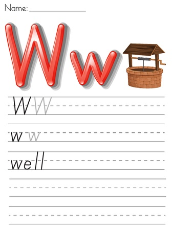 Alphabet worksheet on white paper Stock Vector - 13858779