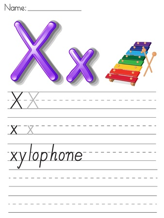 xylophone: Alphabet worksheet on white paper