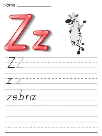 Alphabet worksheet on white paper Stock Vector - 13858780