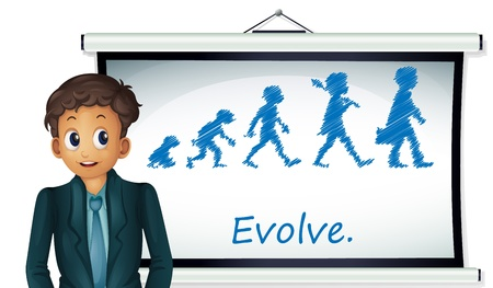 Businessman presenting evolution on board Stock Vector - 13858852