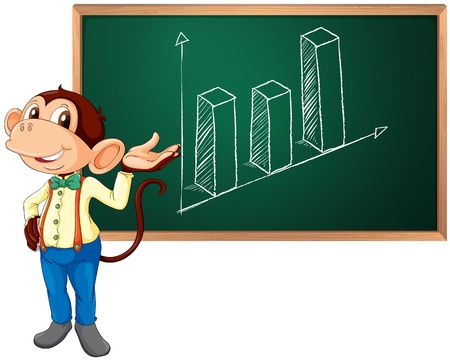 rise fall: Business monkey presenting information