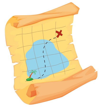 x marks the spot: Illustration of a pirate map on white