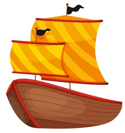 barco caricatura: Ilustraci�n de un barco pirata sobre fondo blanco
