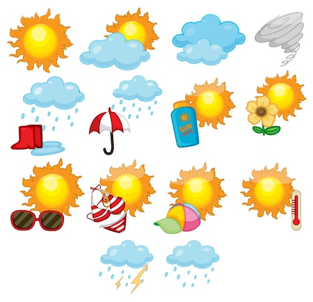 Illustration of mixed weather symbols illustration
