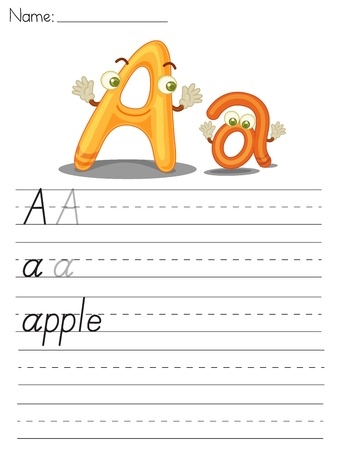 spacing: Illustrated alphabet worksheet of the letter a
