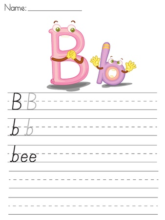 Illustrated alphabet worksheet of the letter b Vector
