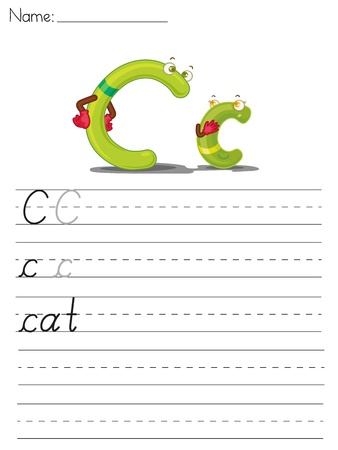Illustrated alphabet worksheet of the letter c Vector
