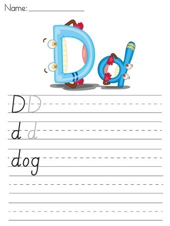 Illustrated alphabet worksheet of the letter d