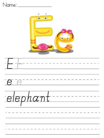 spacing: Illustrated alphabet worksheet of the letter e