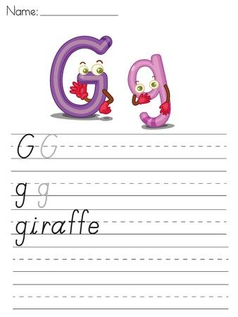 Illustrated alphabet worksheet of the letter g Stock Vector - 13892268