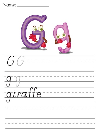 g giraffe: Illustrated alphabet worksheet of the letter g