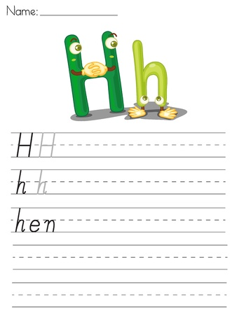 spacing: Illustrated alphabet worksheet of the letter h