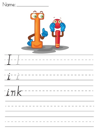 Illustrated alphabet worksheet of the letter i Vector