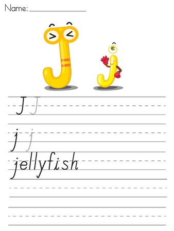 spacing: Illustrated alphabet worksheet of the letter j Illustration