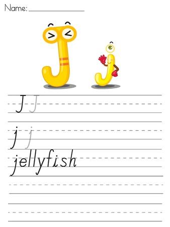 letter j: Illustrated alphabet worksheet of the letter j Illustration