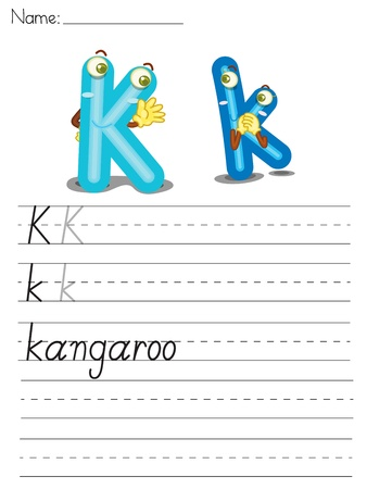 Illustrated alphabet worksheet of the letter k Vector