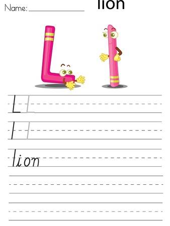 Illustrated alphabet worksheet of the letter l Stock Vector - 13892274