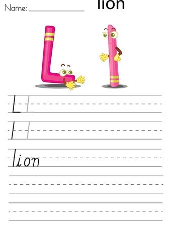 spacing: Illustrated alphabet worksheet of the letter l